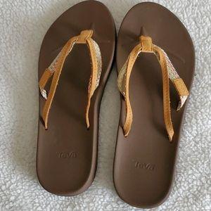 TEVA azure 2 strap tan sandals